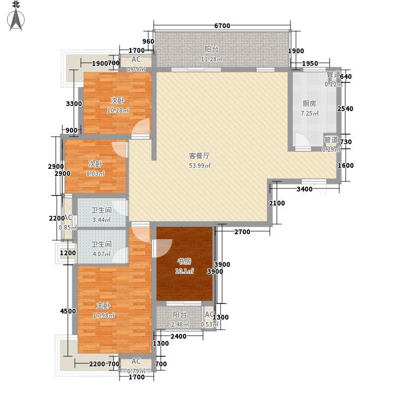 名流王座18.20㎡1#楼超高层1-2-A户型4室2厅2卫1厨