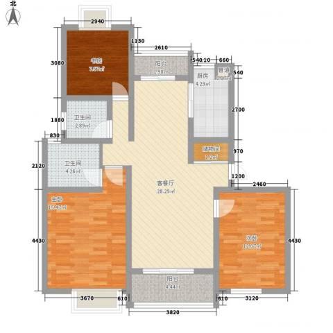 翠微品墅3室1厅2卫1厨88.00㎡户型图