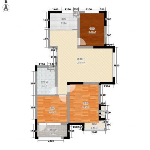 中天北湾新城3室1厅1卫1厨111.00㎡户型图