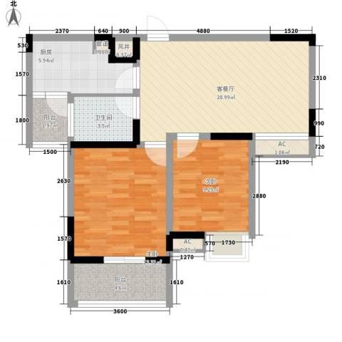 武夷绿洲2室1厅1卫1厨91.00㎡户型图