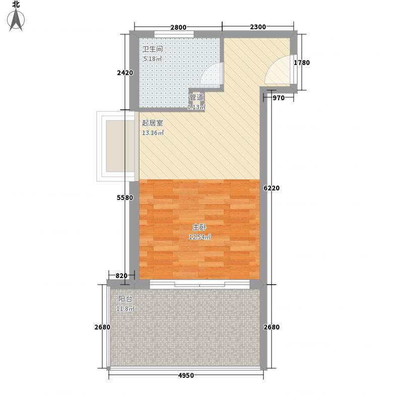 博鳌宝莲城59.57㎡博鳌宝莲城户型图二期H栋晴海公寓户型1室1厅1卫1厨户型1室1厅1卫1厨