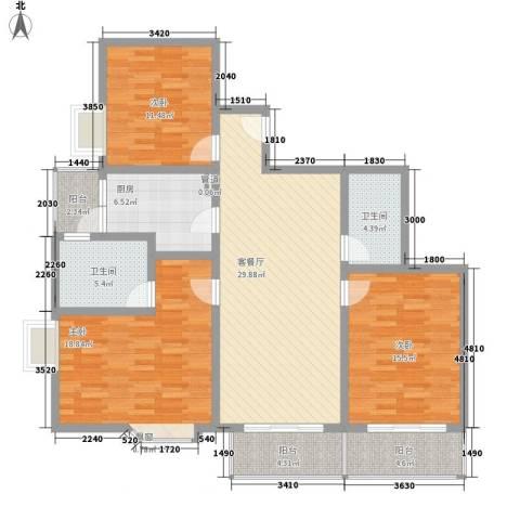 名人雅居沪贵苑3室1厅2卫1厨118.40㎡户型图