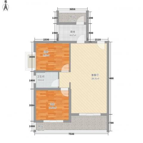盛世华城2室1厅1卫1厨97.00㎡户型图