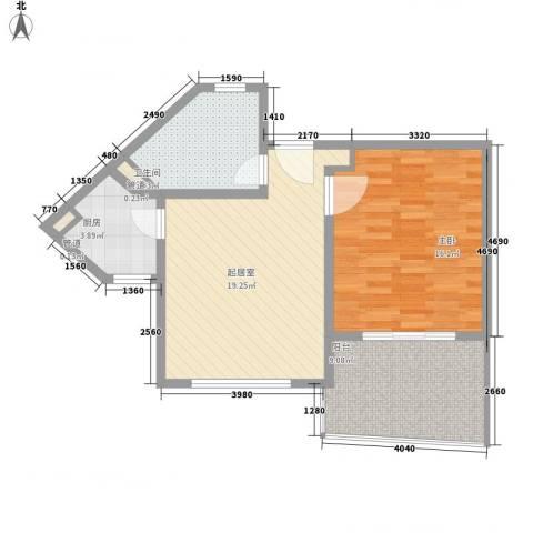博鳌宝莲城1室0厅1卫1厨77.00㎡户型图