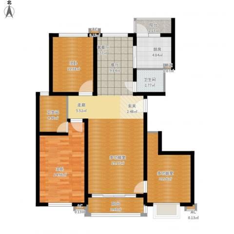 领秀天成2室1厅2卫1厨133.00㎡户型图