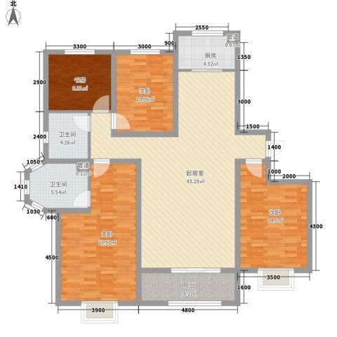 枫景华庭4室0厅2卫1厨163.00㎡户型图