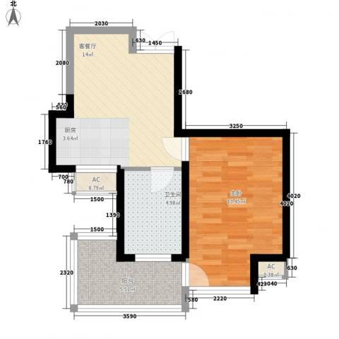 滨湖世纪城徽杰苑1室1厅1卫0厨58.00㎡户型图