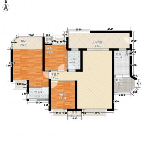 龙园8号3室1厅2卫1厨135.00㎡户型图