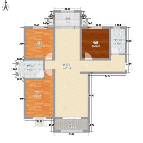 枫景华庭3室0厅2卫1厨134.00㎡户型图