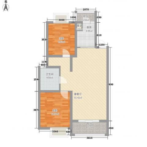 翠微品墅2室1厅1卫1厨96.00㎡户型图