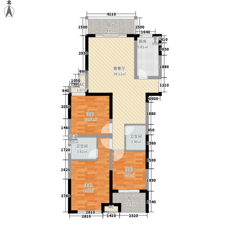 名流王座128.50㎡5#楼G3户型3室2厅2卫1厨