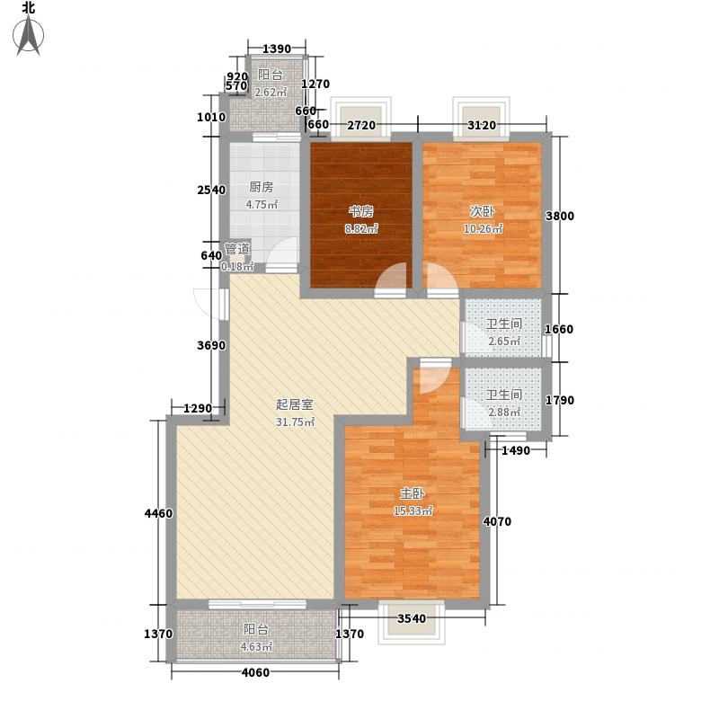 香槟城121.30㎡B1户型3室2厅2卫1厨