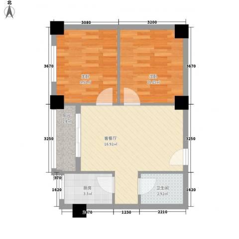 安康北苑2室1厅1卫1厨66.00㎡户型图