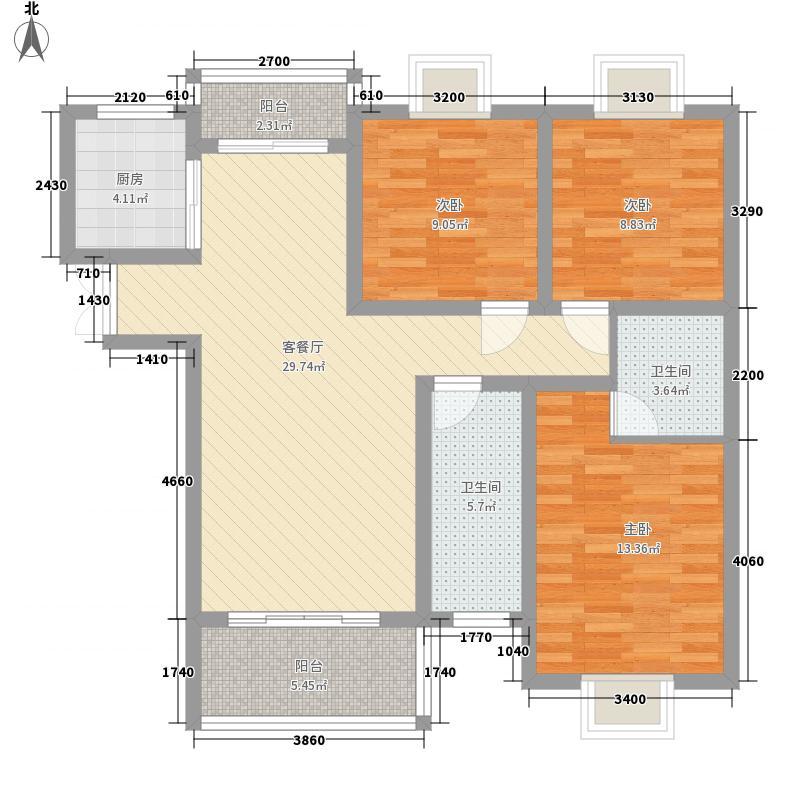 阳光枫情12.00㎡二期高层1号楼C户型3室2厅2卫1厨
