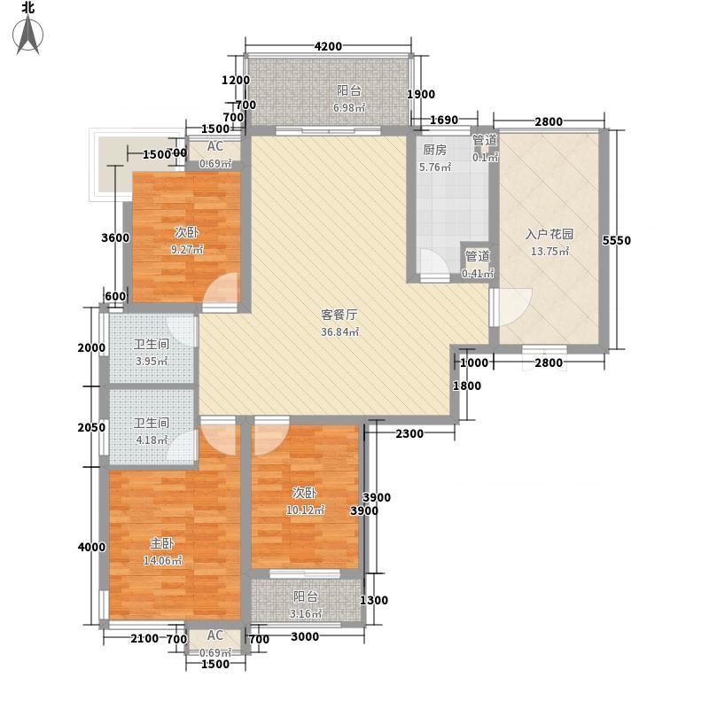 名流王座145.11㎡2#楼超高层2-2-E户型3室2厅2卫1厨