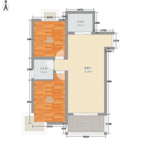 阳光枫情2室1厅2卫0厨83.00㎡户型图