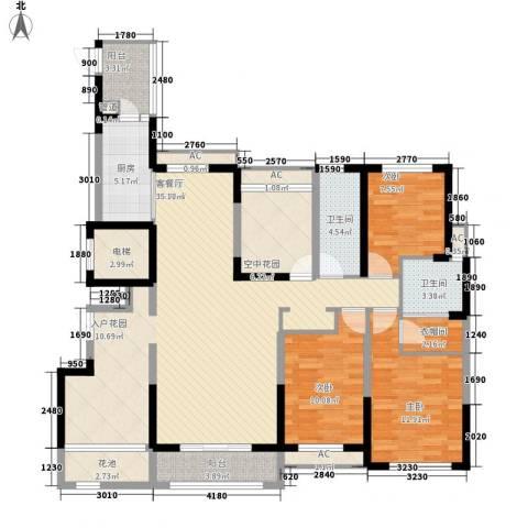 融科九重锦3室1厅2卫1厨167.00㎡户型图
