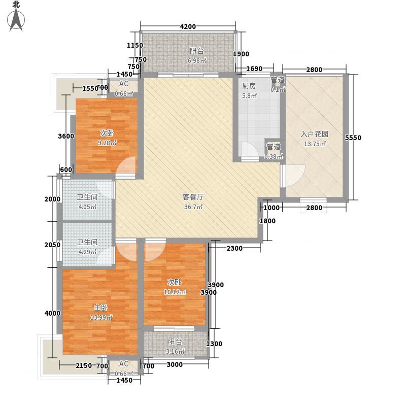名流王座142.55㎡2#楼超高层2-2-E'户型3室2厅2卫1厨