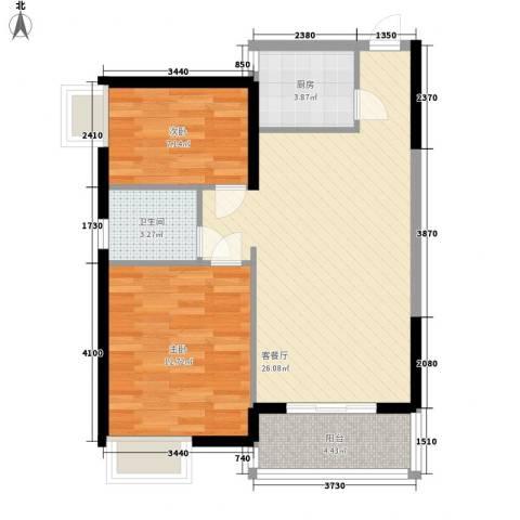 万宁万利隆花园2室1厅1卫1厨81.00㎡户型图