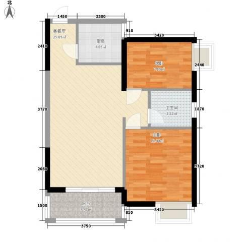 万宁万利隆花园2室1厅1卫1厨80.00㎡户型图