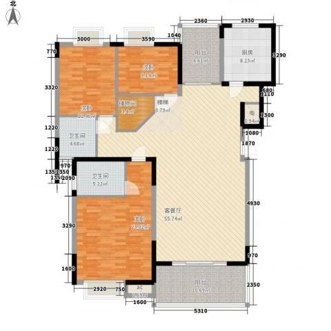 万宁万利隆花园3室1厅2卫1厨197.00㎡户型图