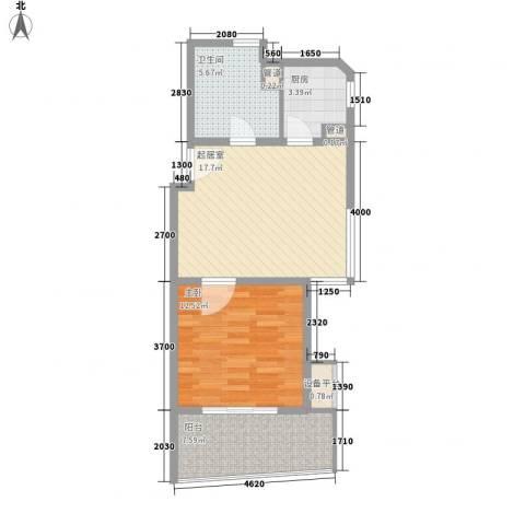 博鳌宝莲城1室0厅1卫1厨69.00㎡户型图