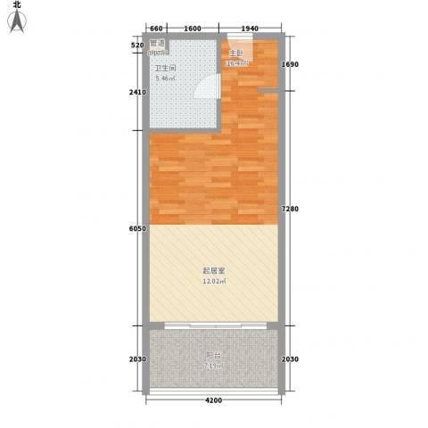 博鳌宝莲城1室0厅1卫0厨58.00㎡户型图
