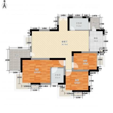 阳光枫情3室1厅2卫1厨118.00㎡户型图