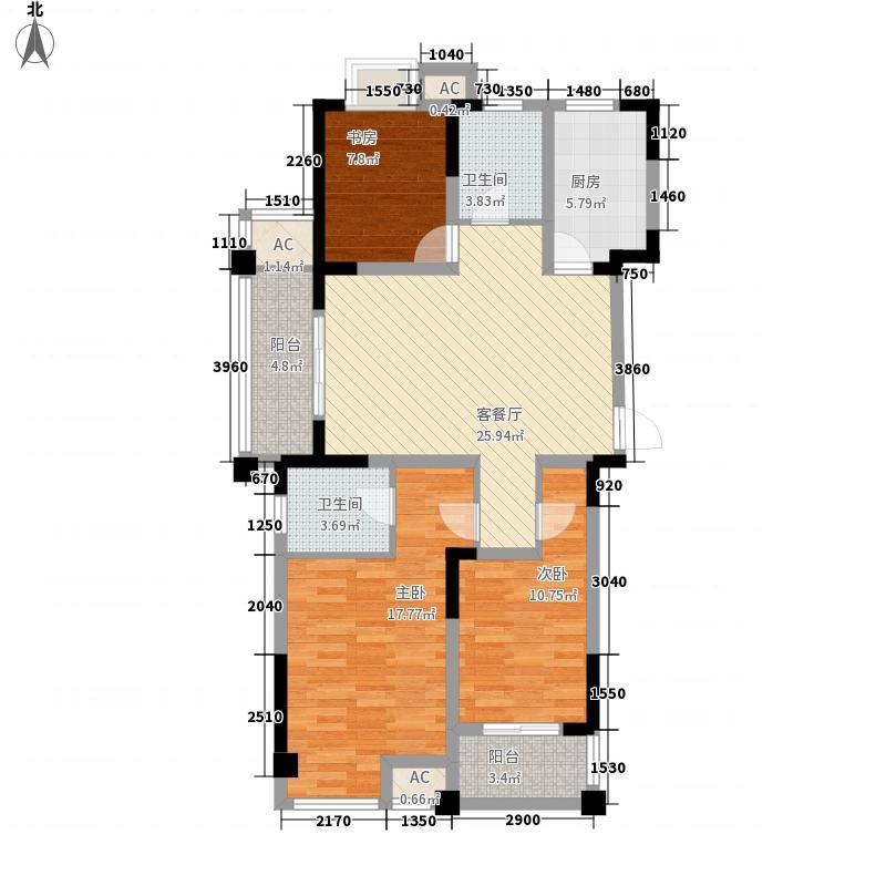 西阆苑126.00㎡F户型3室2厅1卫1厨
