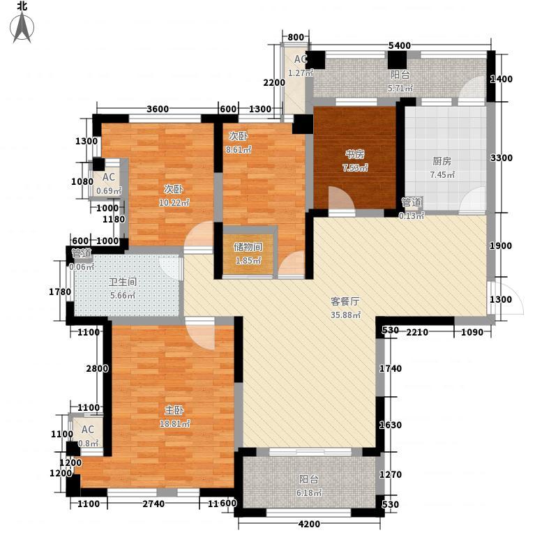 华邦光明世家116.00㎡12#楼B2户型4室2厅1卫1厨