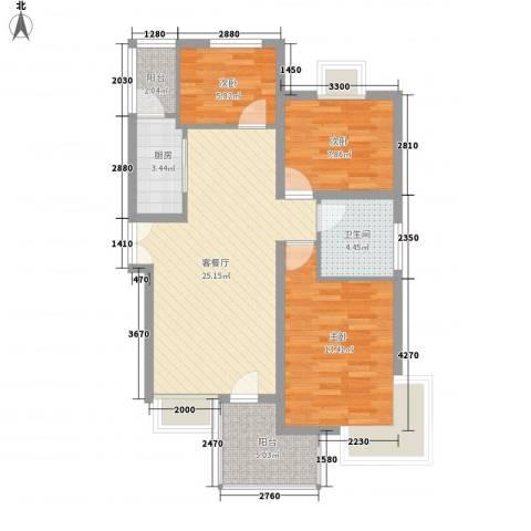 阳光枫情3室1厅1卫1厨96.00㎡户型图