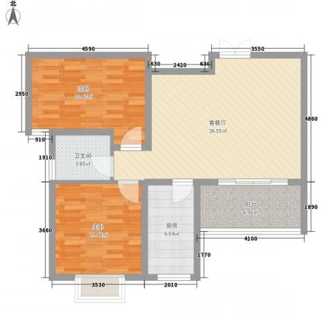 阳光枫情2室1厅1卫1厨95.00㎡户型图