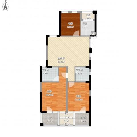 温岭市东湖怡景园3室1厅2卫1厨127.00㎡户型图