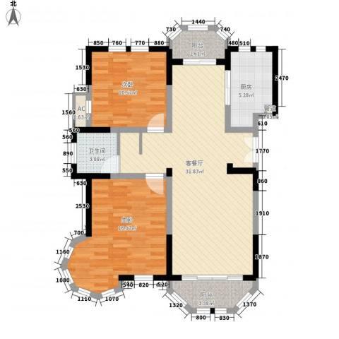 衡山城2室1厅1卫1厨85.60㎡户型图