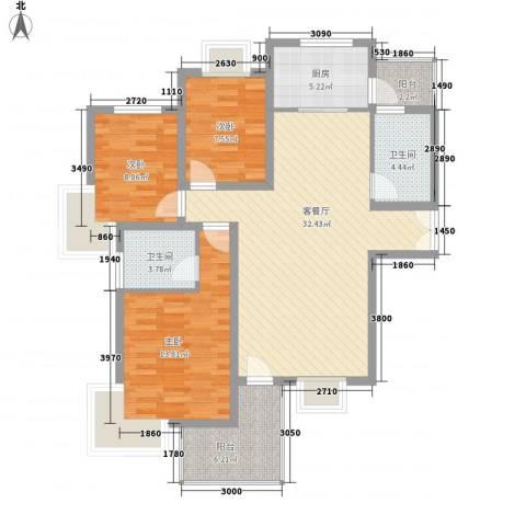 阳光枫情3室1厅2卫1厨120.00㎡户型图
