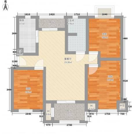 瑶东北村3室1厅1卫1厨89.00㎡户型图