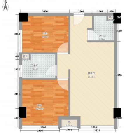 中央花园2室1厅2卫0厨73.00㎡户型图