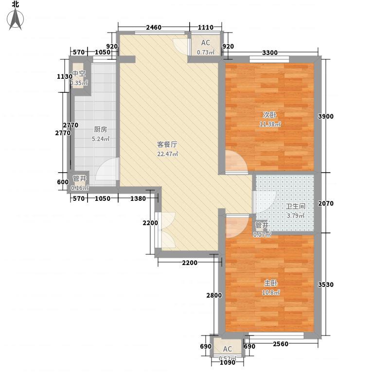 中央花园小区004户型2室1厅1卫1厨