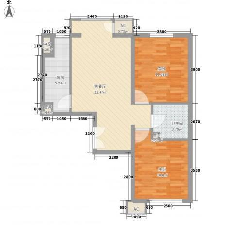 中央花园2室1厅1卫1厨80.00㎡户型图