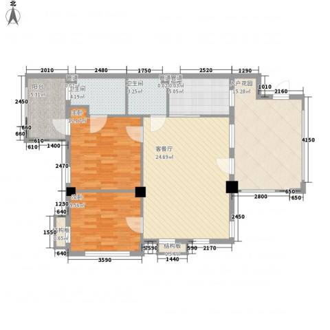 戴河庭院2室1厅2卫1厨88.00㎡户型图