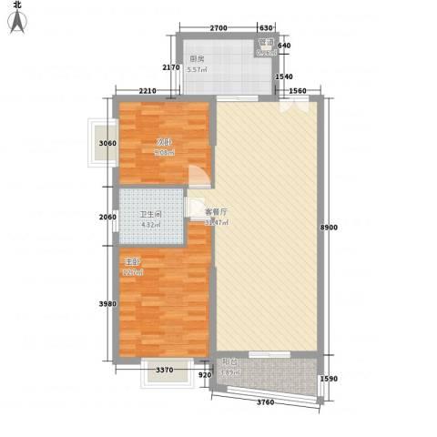 岭东路教师公寓2室1厅1卫1厨95.00㎡户型图