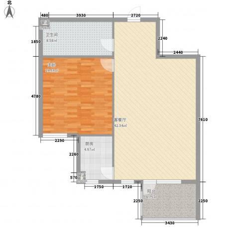 戴河庭院1室1厅1卫1厨82.36㎡户型图