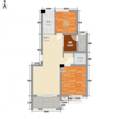 福泰御河湾3室1厅1卫1厨61.16㎡户型图