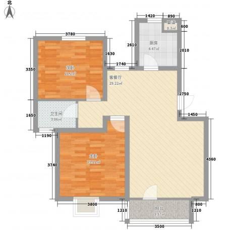 幸福里程2室1厅1卫1厨64.71㎡户型图