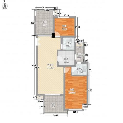 金地国际公馆2室1厅2卫1厨117.00㎡户型图