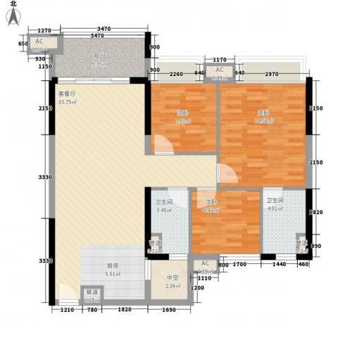 涛汇尚品3室1厅2卫0厨78.93㎡户型图