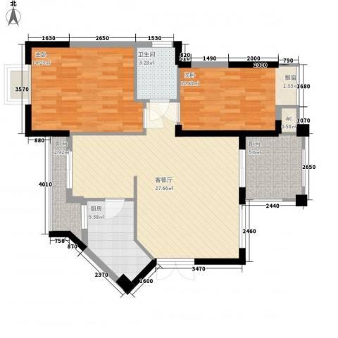 中央绿园2室1厅1卫1厨84.00㎡户型图