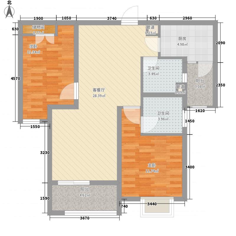 瑞虹新城铭庭104.88㎡1号楼-03单元户型2室2厅2卫1厨
