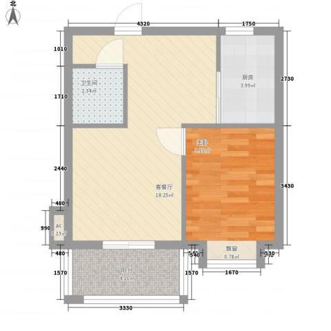 美林湖国际社区1室1厅1卫1厨54.00㎡户型图