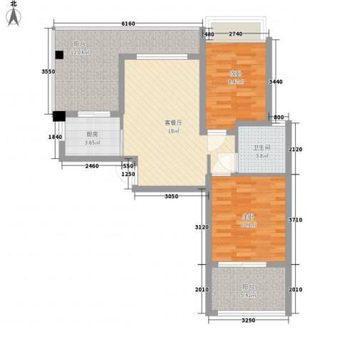 泉倾天下2室1厅1卫1厨90.00㎡户型图